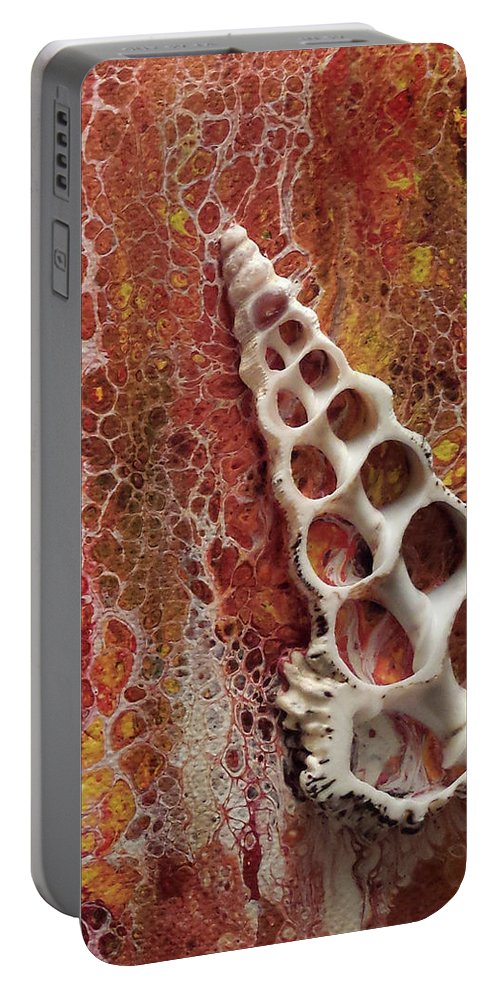 Shell Abstract Earth Tones Portable Battery Charger featuring the painting Abstraque Artique by Beth Waltz