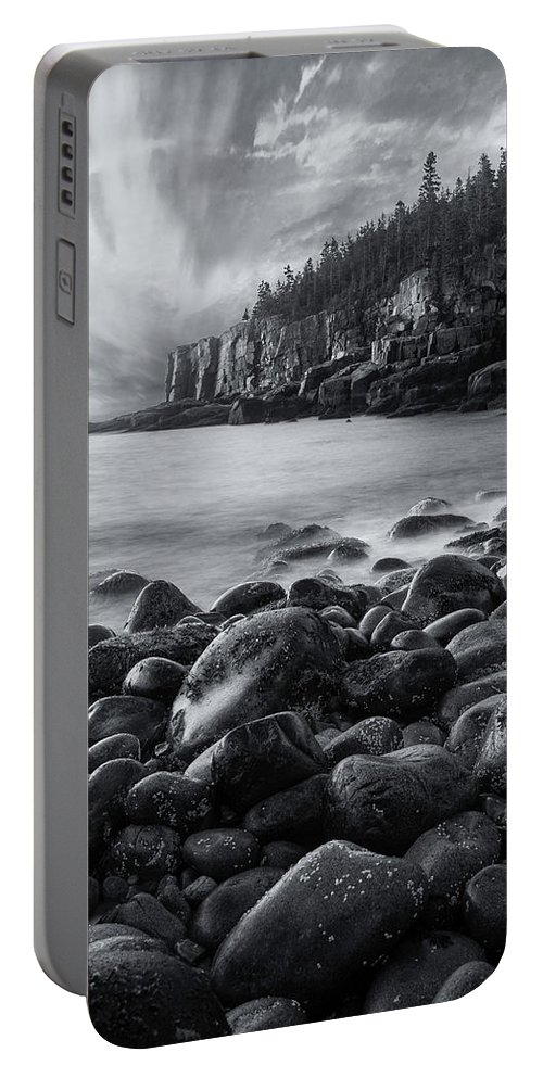 Acadia Portable Battery Charger featuring the photograph Acadia Radiance - Black And White by T-S Fine Art Landscape Photography