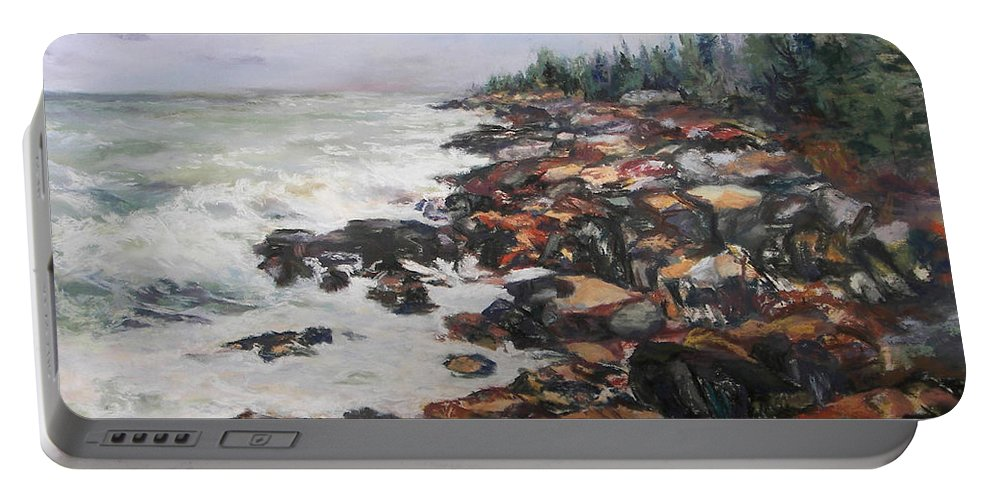 Acadia National Park Portable Battery Charger featuring the pastel Acadian Afternoon by Alicia Drakiotes