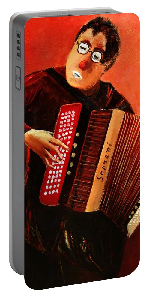 Music Portable Battery Charger featuring the print Accordeon by Pol Ledent