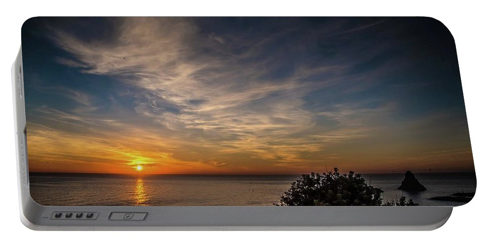 Sunrise Portable Battery Charger featuring the photograph Aci Trezza Wakes Up by Larkin's Balcony Photography