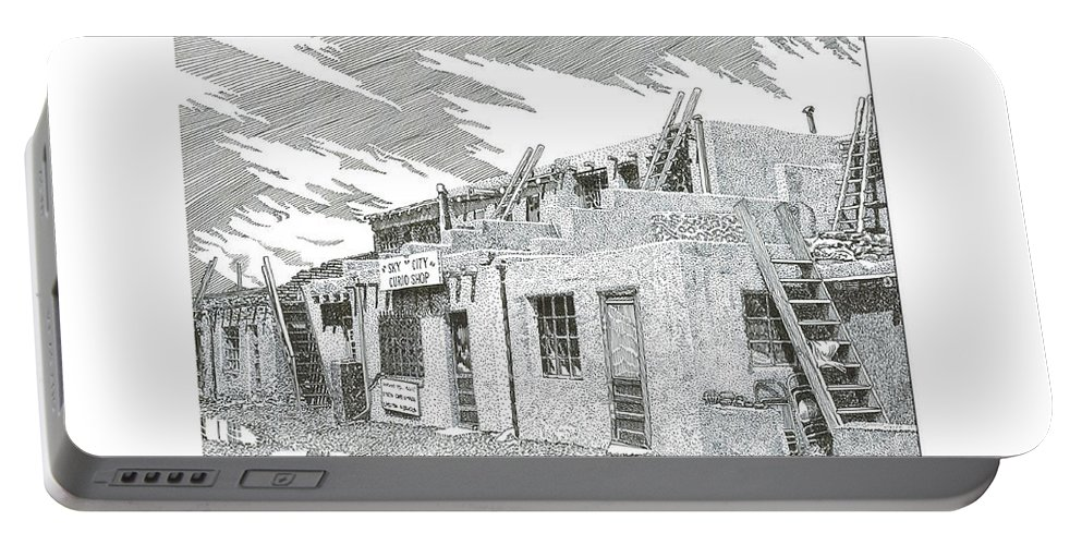 Images Of Acoma Sky City Acoma Portable Battery Charger featuring the drawing Acoma Sky City by Jack Pumphrey