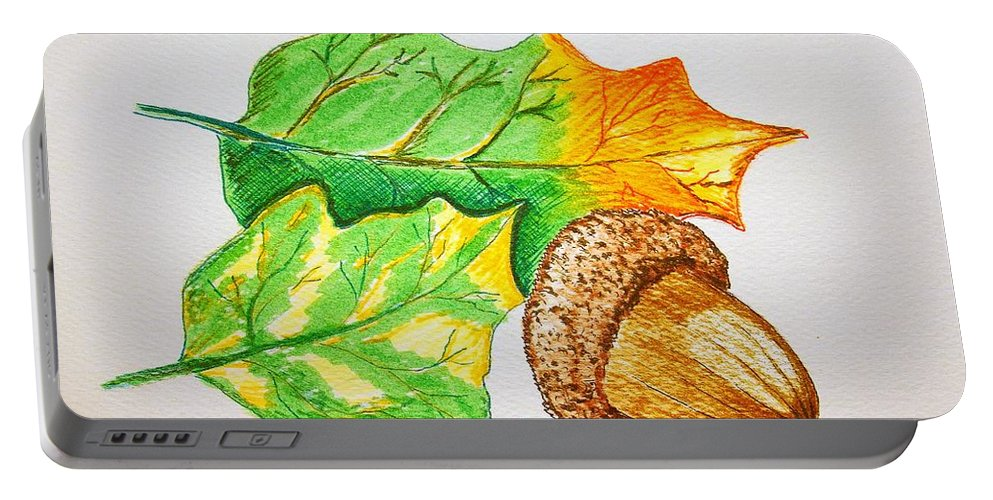 Stationery Card Portable Battery Charger featuring the drawing Acorn And Leaves by J R Seymour