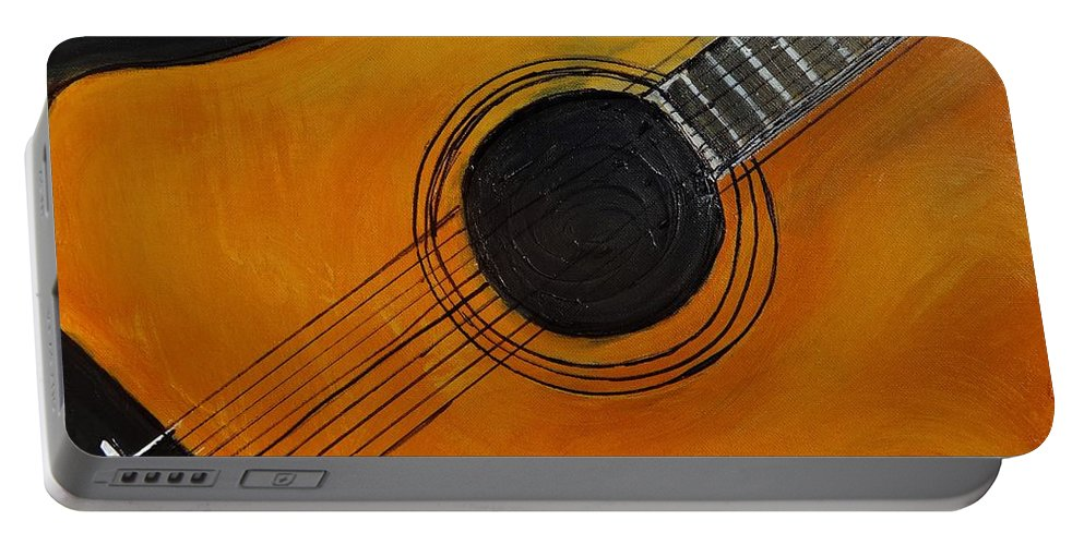 #acoustic Guitar Painting Portable Battery Charger featuring the painting Acoustic Guitar by Linda Waidelich