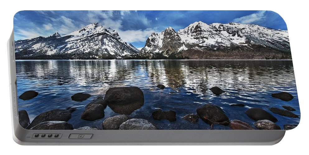 Mountains Portable Battery Charger featuring the photograph Across Jenny Lake by John Christopher
