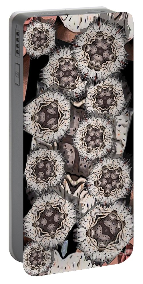 Abstract Portable Battery Charger featuring the digital art Actiniaria by Ron Bissett