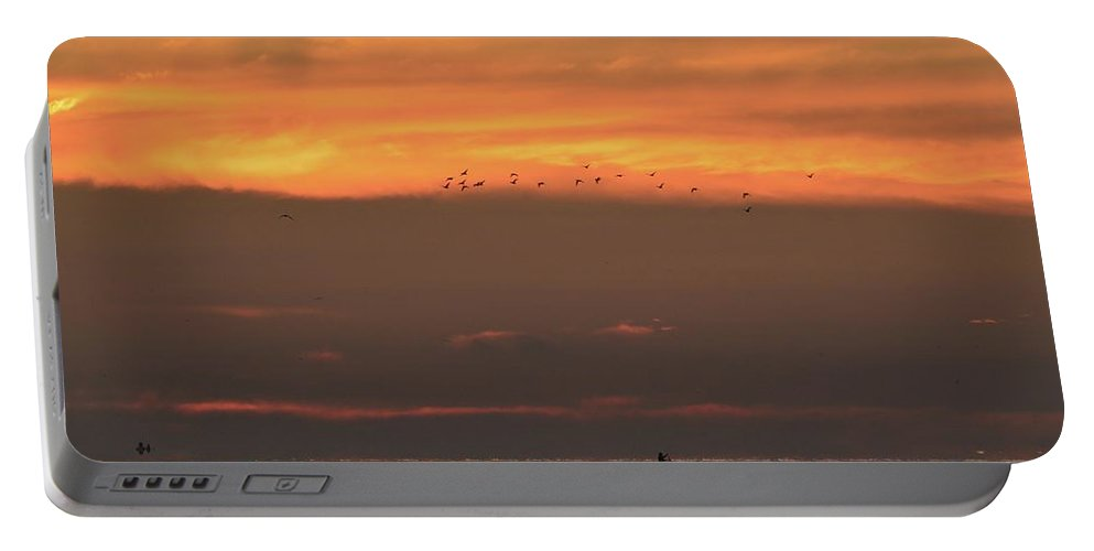 Abstract Portable Battery Charger featuring the photograph Activity On Lake Simcoe by Lyle Crump
