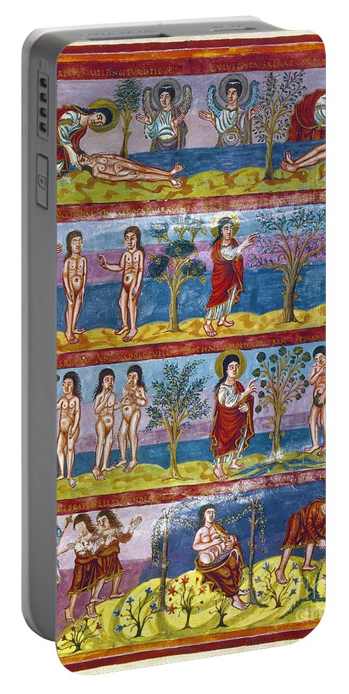 9th Century Portable Battery Charger featuring the photograph Adam And Eve. 9th Century by Granger