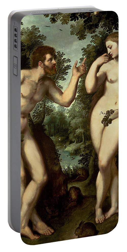 Adam Portable Battery Charger featuring the painting Adam And Eve by Peter Paul Rubens