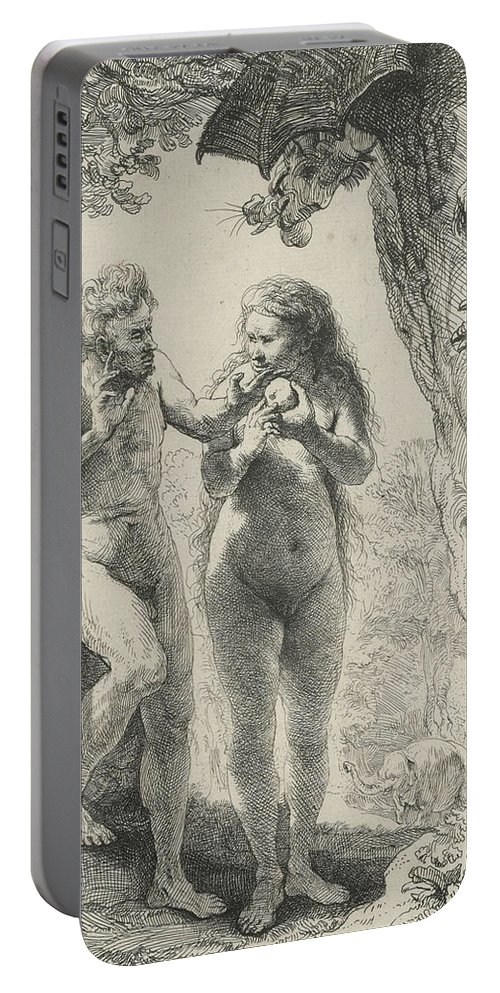 Rembrandt Portable Battery Charger featuring the relief Adam And Eve by Rembrandt