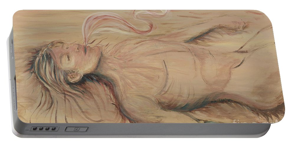 Adam Portable Battery Charger featuring the painting Adam and the Breath of God by Nadine Rippelmeyer