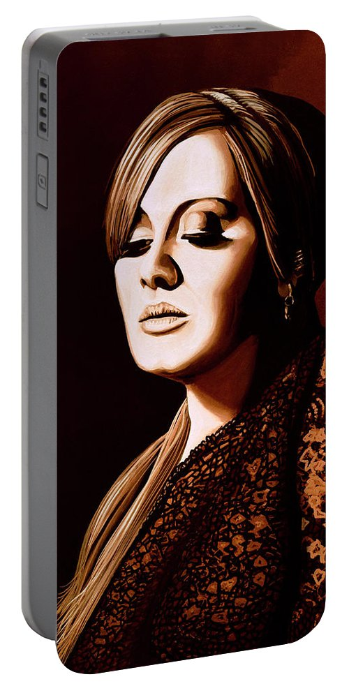 Adele Portable Battery Charger featuring the mixed media Adele Skyfall Gold by Paul Meijering