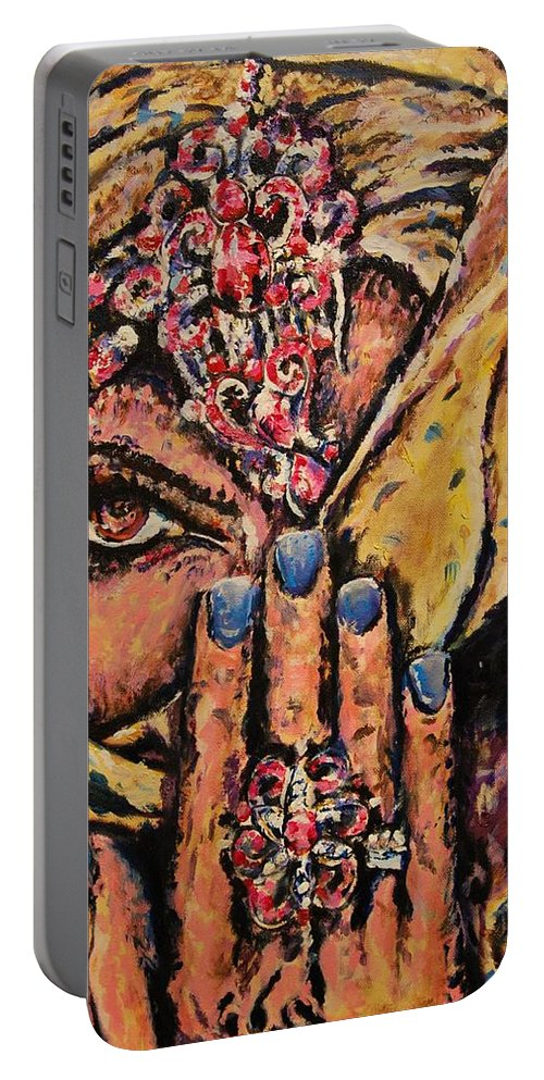 Woman Portable Battery Charger featuring the painting Adivina by Andres A Garcia-Velez