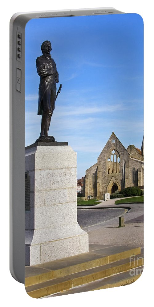 Admiral Lord Nelson Portable Battery Charger featuring the photograph Admiral Lord Nelson And Royal Garrison Church by Terri Waters