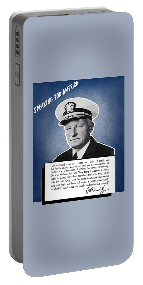Navy Portable Battery Charger featuring the painting Admiral Nimitz Speaking For America by War Is Hell Store