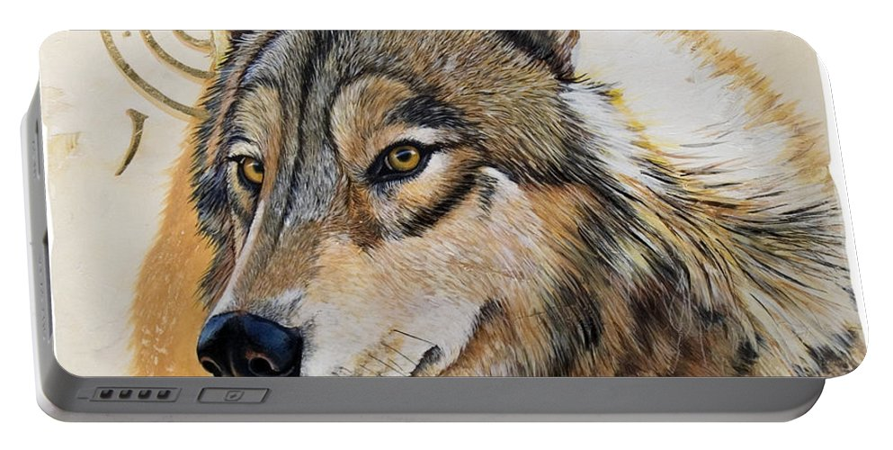 Acrylics Portable Battery Charger featuring the painting Adobe Gold by Sandi Baker