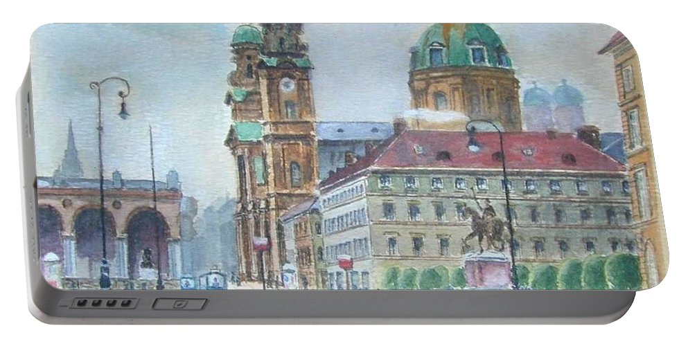 Nature Portable Battery Charger featuring the painting Adolf Hitler Painting Ordensplatzcu by Adolf Hitler