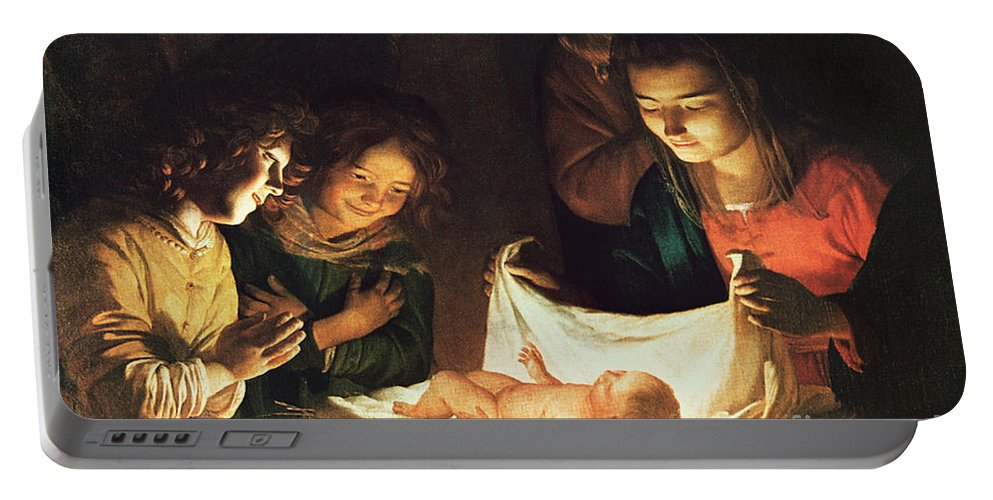 Adoration Of The Baby Portable Battery Charger featuring the painting Adoration Of The Baby by Gerrit van Honthorst