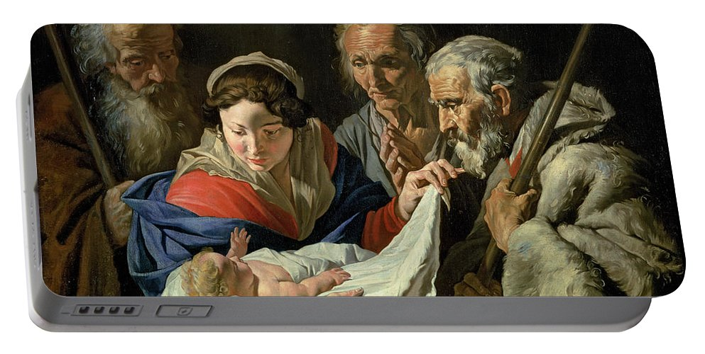 Nativity Portable Battery Charger featuring the painting Adoration Of The Infant Jesus by Stomer Matthias