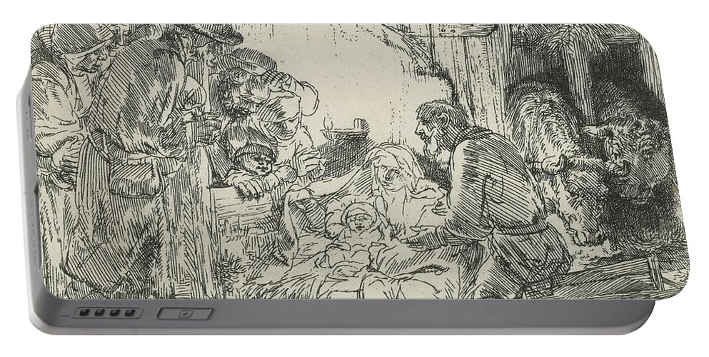Rembrandt Portable Battery Charger featuring the relief Adoration Of The Shepherds, With Lamp by Rembrandt
