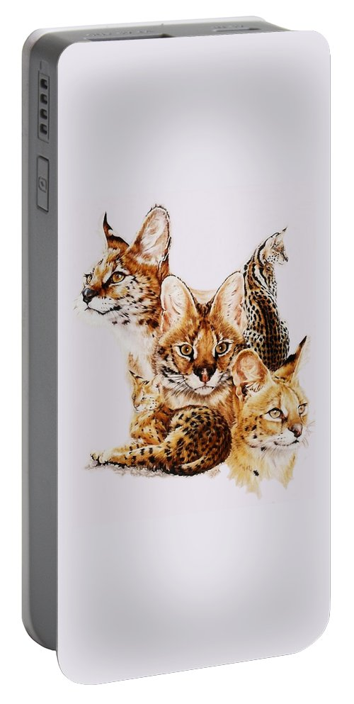 Serval Portable Battery Charger featuring the drawing Adroit by Barbara Keith