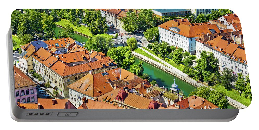 Slovenia Portable Battery Charger featuring the photograph Aerial View Of Ljubljana Green River by Brch Photography