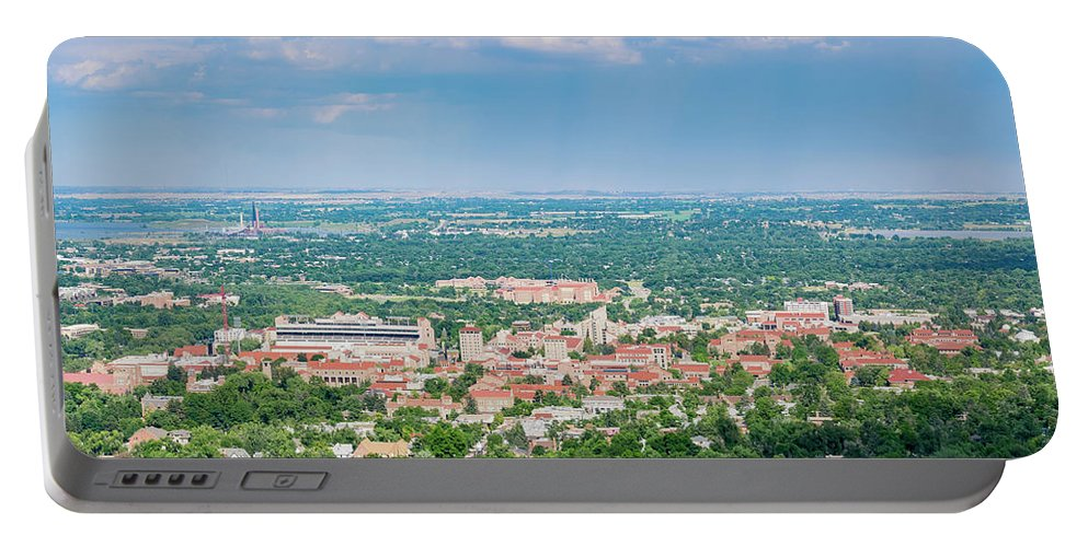Colorado Portable Battery Charger featuring the photograph Aerial View Of The Beautiful University Of Colorado Boulder by Chon Kit Leong