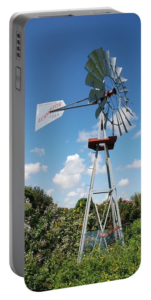 Blue Portable Battery Charger featuring the photograph Aeromotor Windmill by Rob Hans