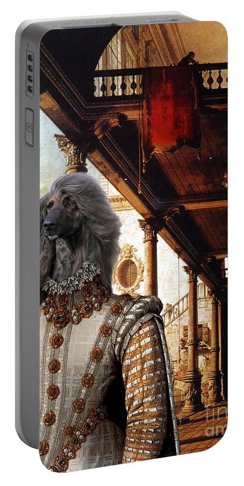Afghan Hound Canvas Portable Battery Charger featuring the painting Afghan Hound-capriccio Of Colonade And The Courtyard Of A Palace Canvas Fine Art Print by Sandra Sij