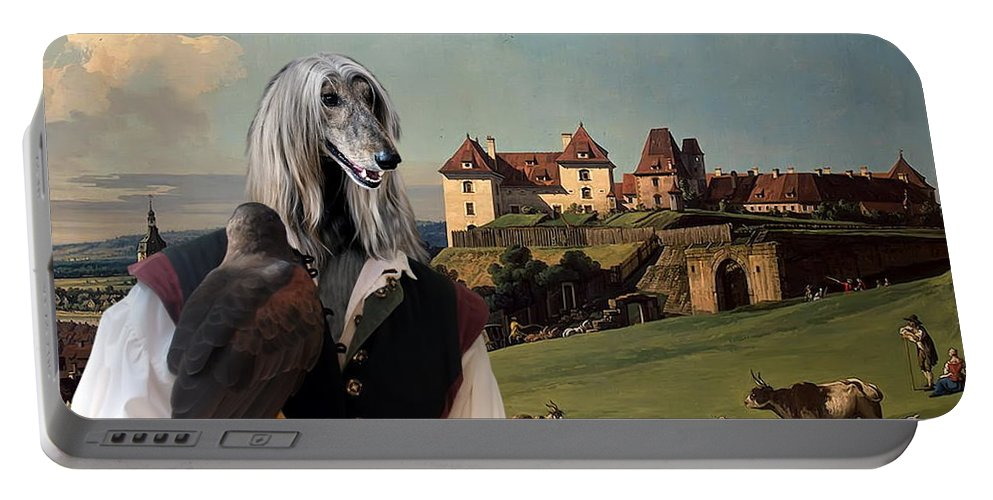 Afghan Hound Canvas Portable Battery Charger featuring the painting Afghan Hound-falconer And Castle Canvas Fine Art Print by Sandra Sij