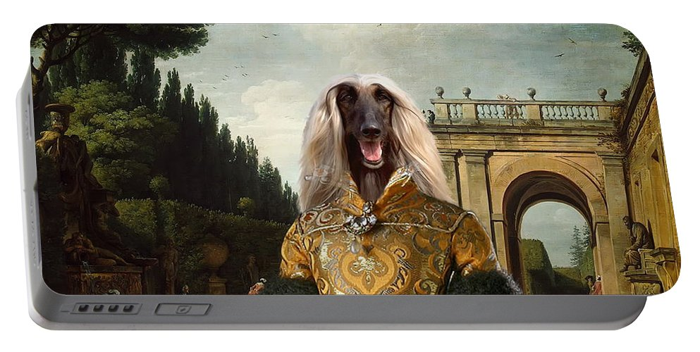 Afghan Hound Canvas Portable Battery Charger featuring the painting Afghan Hound-the Afternoon Promenade In Rome Canvas Fine Art Print by Sandra Sij