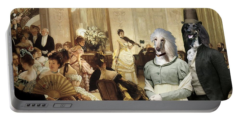 Afghan Hound Canvas Portable Battery Charger featuring the painting Afghan Hound-the Concert Canvas Fine Art Print by Sandra Sij