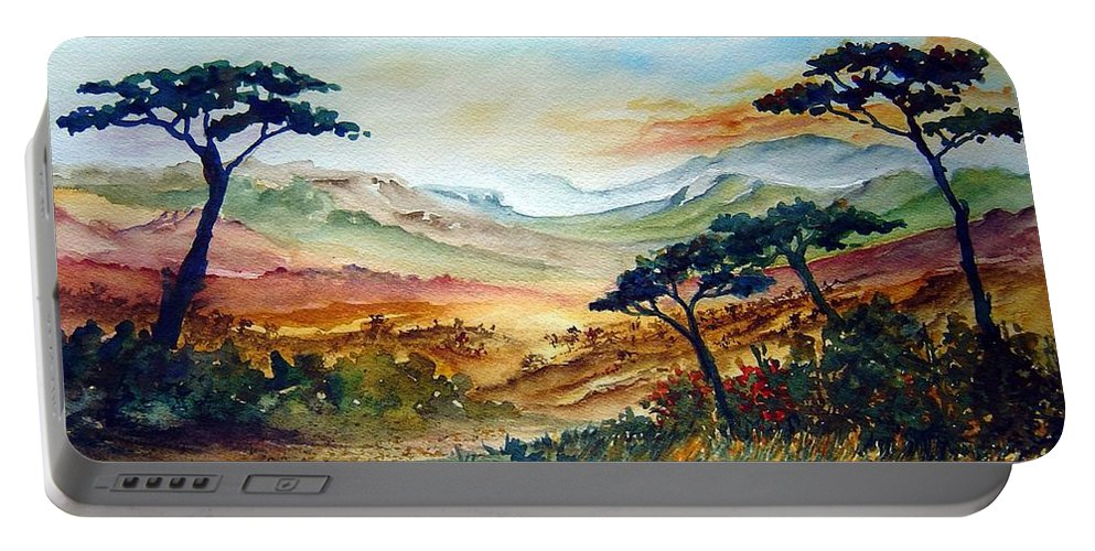 Africa Portable Battery Charger featuring the painting Africa by Joanne Smoley