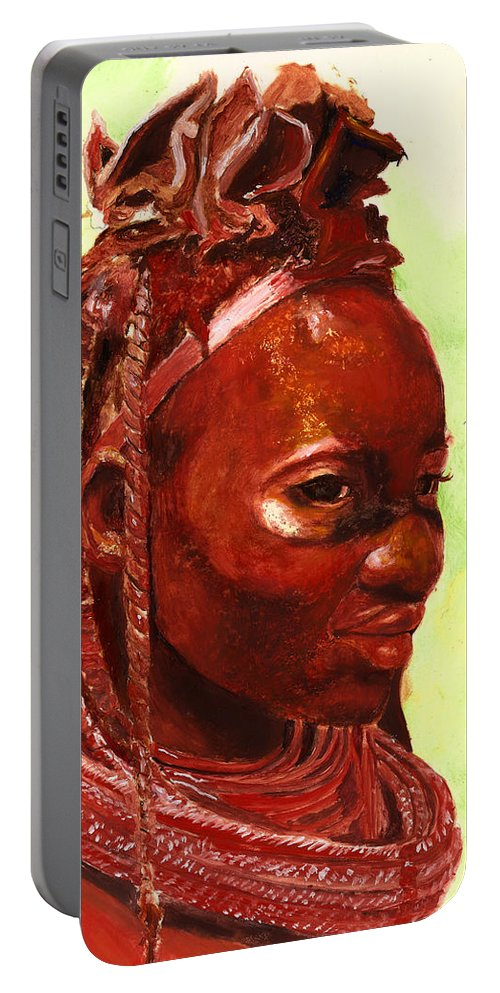 People Portrait Portable Battery Charger featuring the painting African Beauty by Portraits By NC