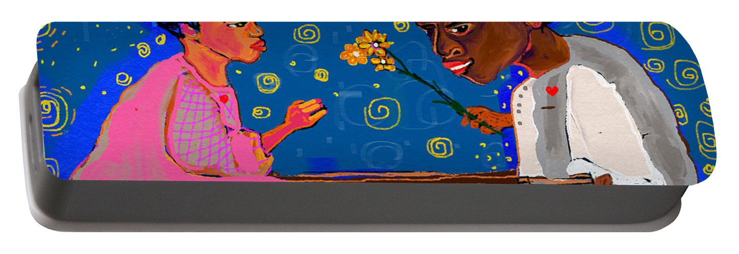 Portable Battery Charger featuring the painting African Boy by Jackie Pecoroni