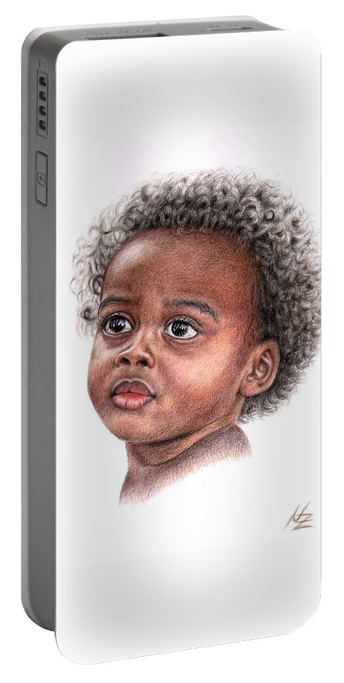 Child Portable Battery Charger featuring the drawing African Child by Nicole Zeug