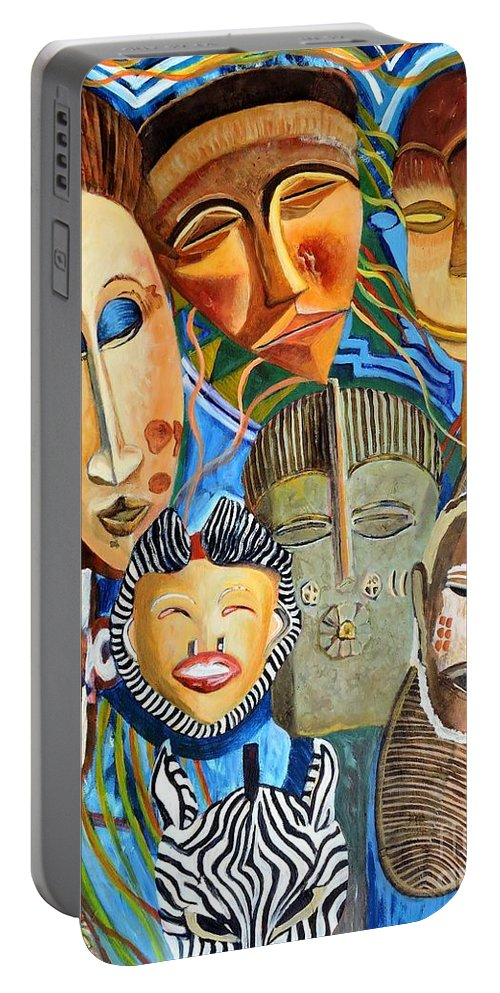 African Masks Portable Battery Charger featuring the painting African Eclectic by Caroline Street