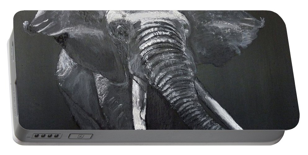 Elephant Portable Battery Charger featuring the painting African Elephant by Richard Le Page