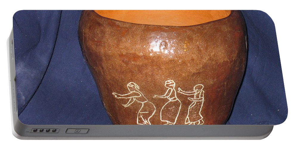 Jesus Portable Battery Charger featuring the ceramic art African Ladies Lead The Dance - View One by Gloria Ssali