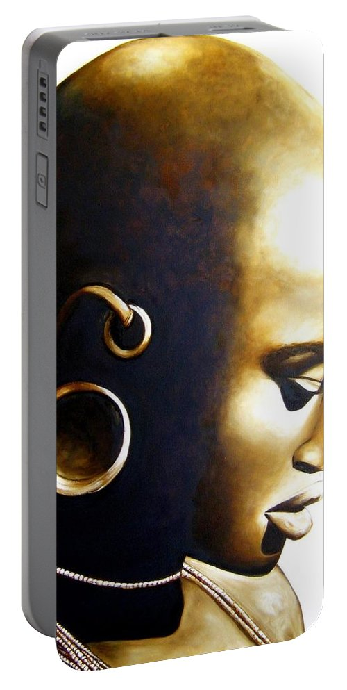 African Lady Portable Battery Charger featuring the painting African Lady - Original Artwork by Tracey Armstrong