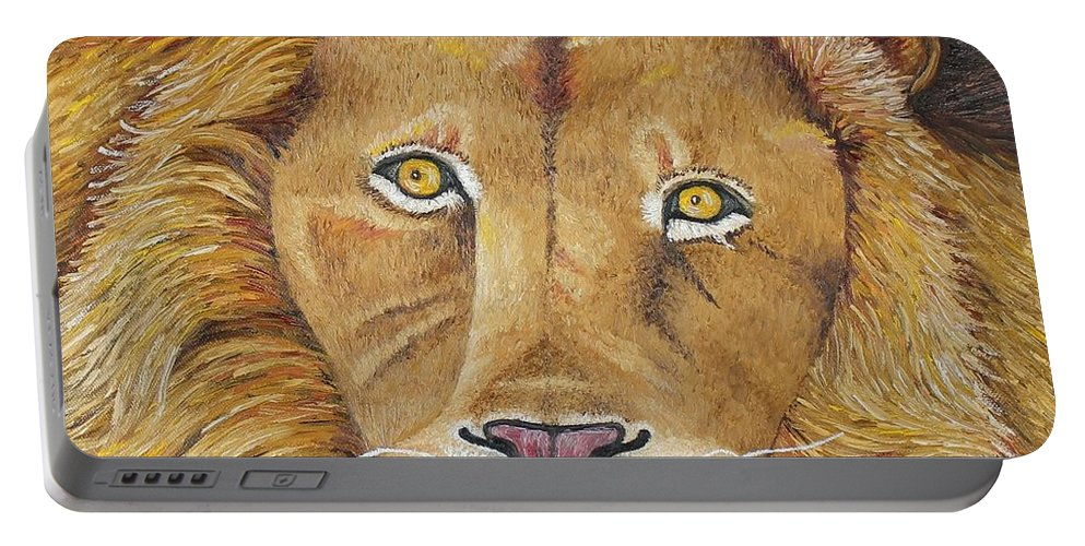 Lion Portable Battery Charger featuring the photograph African Lion by Karen Desrosiers