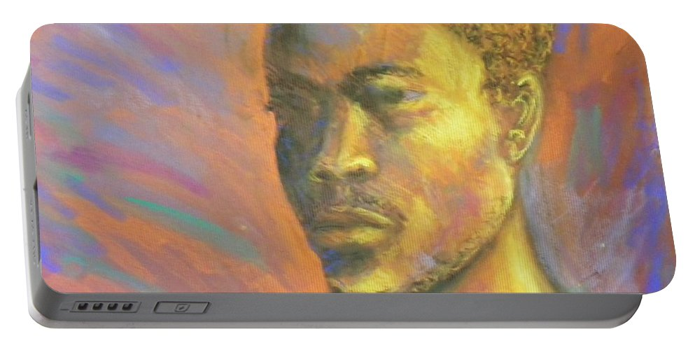 African Portable Battery Charger featuring the pastel African Man by Jan Gilmore