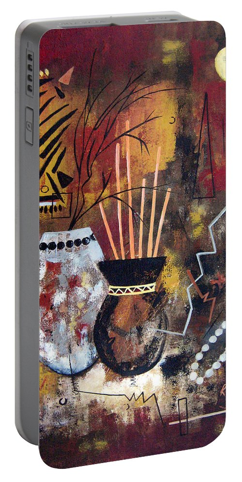 Abstract Portable Battery Charger featuring the painting African Perspective by Ruth Palmer