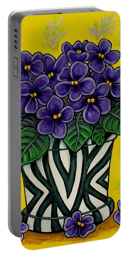 Violets Portable Battery Charger featuring the painting African Queen by Lisa Lorenz