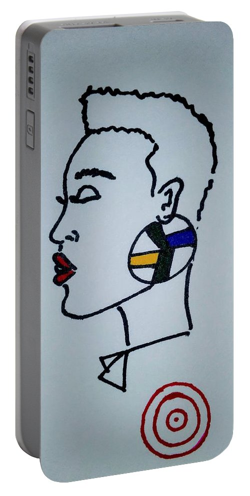 Profile Portable Battery Charger featuring the drawing African Queen by Peggy Theronier