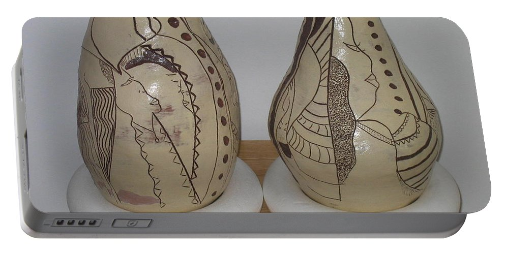 Jesus Portable Battery Charger featuring the ceramic art African Terracotta Gourds - View Three by Gloria Ssali