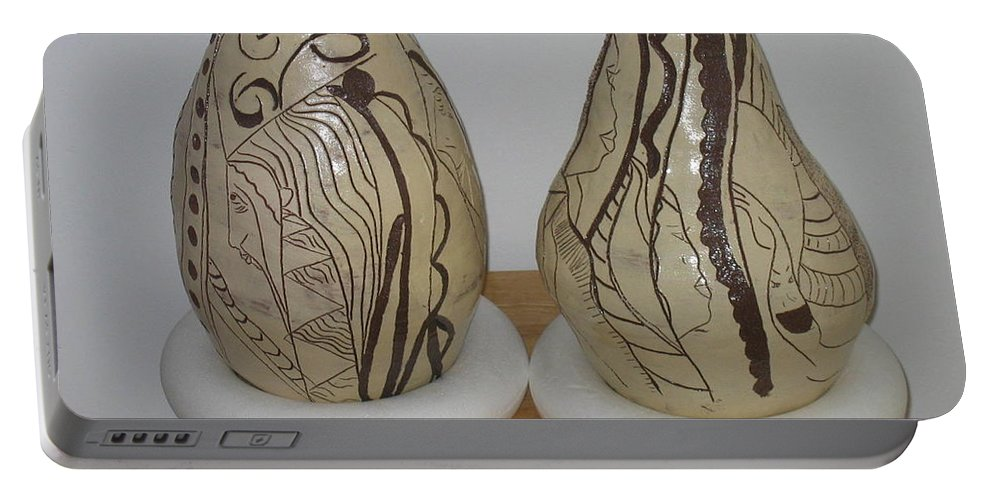 Jesus Portable Battery Charger featuring the ceramic art African Terracotta Gourds - View Two by Gloria Ssali