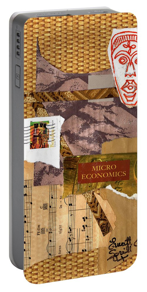 Everett Spruill Portable Battery Charger featuring the painting Afro Collage by Everett Spruill