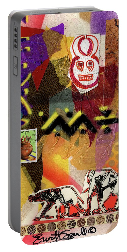 Everett Spruill Portable Battery Charger featuring the painting Afro Collage - O by Everett Spruill