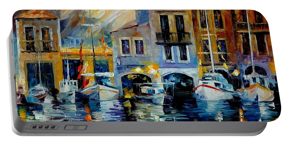 Afremov Portable Battery Charger featuring the painting After A Day's Work by Leonid Afremov